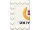 Part No: 6180pb012  Name: Tile, Modified 4 x 6 with Studs on Edges with Lego Logo Left Half and 'UNIV' Pattern