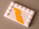 Part No: 6180pb089L  Name: Tile, Modified 4 x 6 with Studs on Edges with Bright Light Orange Tattered Diagonal Stripe Pattern Model Left Side (Sticker) - Set 75053