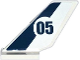 Part No: 6239pb046  Name: Tail Shuttle with Dark Blue Stripe and '05' in White Circle Pattern on Both Sides (Stickers) - Set 60067