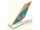 Part No: 6239pb052  Name: Tail Shuttle with Yellow and Magenta Stripes and 'HLA' in Winged Heart on Medium Azure Background Pattern on Both Sides (Stickers) - Set 41100