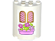 Part No: 6259pb024  Name: Cylinder Half 2 x 4 x 4 with 2 Windows and Pink Flower Box Pattern (Sticker) - Set 41052