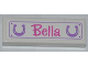 Part No: 63864pb014  Name: Tile 1 x 3 with 2 Horseshoes and 'Bella' Pattern (Sticker) - Set 3189
