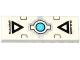 Part No: 63864pb041  Name: Tile 1 x 3 with 'WARNING', Black Triangles and Silver and Medium Azure Electronic Eye Pattern (Sticker) - Set 70173