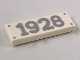 Part No: 63864pb081  Name: Tile 1 x 3 with 4 Silver Nails and '1928' Pattern