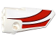 Part No: 64391pb022  Name: Technic, Panel Fairing # 4 Small Smooth Long, Side B with Red Curved Stripes Pattern (Sticker) - Set 42040