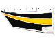 Part No: 64392pb016  Name: Technic, Panel Fairing #17 Large Smooth, Side A with Yellow, Orange and White Stripes on Black Background Pattern (Sticker) - Set 42044