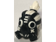 Part No: 64639pb01  Name: Minifigure, Headgear Gas Mask Roadhog with White Hair in Top Knot Pattern