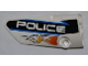 Part No: 64683pb003  Name: Technic, Panel Fairing # 3 Small Smooth Long, Side A with Orange Flames and White 'POLICE' on Black Background Pattern (Sticker) - Set 8221
