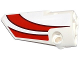 Part No: 64683pb022  Name: Technic, Panel Fairing # 3 Small Smooth Long, Side A with Red Curved Stripes Pattern (Sticker) - Set 42040