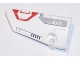 Part No: 64683pb030  Name: Technic, Panel Fairing # 3 Small Smooth Long, Side A with White 'EV3' and Light Bluish Gray and Red Pattern (Sticker) - Set 31313