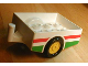 Part No: 6505pb01  Name: Duplo Trailer with Hitch Ends and Green and Red Stripe Pattern