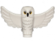 Part No: 67632pb01  Name: Owl, Spread Wings with Black Beak, Yellow Eyes and Light Bluish Gray Rippled Chest Feathers Pattern (HP Hedwig)