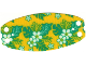 Part No: 68043  Name: Cloth Hammock Oval 10 x 5 with Flowers and Leaves on Yellow Background Pattern