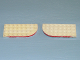 Part No: 712oldpb01  Name: Plate, Round Curved 4 x 8 Left with Waffle Bottom with Red Line on Curved Edge Pattern
