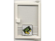 Part No: 73435c01pb05  Name: Door 1 x 4 x 5 Right with Trans-Clear Glass and Bill & Coins Pattern (Sticker) - Set 1490