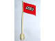 Part No: 777px7  Name: Flag on Flagpole, Wave with Lego Logo Pattern