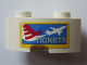 Part No: 85080pb01  Name: Brick, Round Corner 2 x 2 Macaroni with Stud Notch and Reinforced Underside with Airplane and 'TICKETS' Pattern (Sticker) - Set 3182