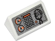 Part No: 85984pb034  Name: Slope 30 1 x 2 x 2/3 with Gauges, Buttons, Orange Bar and Radio on Silver Background Pattern (Sticker) - Set 60014