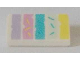Part No: 85984pb183  Name: Slope 30 1 x 2 x 2/3 with Medium Lavender, Dark Pink, Medium Azure, Light Aqua and Bright Light Yellow Vertical Lines Pattern