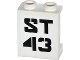 Part No: 87552pb019  Name: Panel 1 x 2 x 2 with Side Supports - Hollow Studs with 'ST 43' Pattern (Sticker) - Set 70808