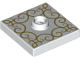 Part No: 87580pb002  Name: Plate, Modified 2 x 2 with Groove and 1 Stud in Center with Gold Lace Pattern (Rug)