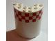 Part No: 87926pb005  Name: Cylinder Half 3 x 6 x 6 with 1 x 2 Cutout with Red and White Small Checkered Pattern, 13 Boxes on 3 Rows (Sticker) - Set 60022