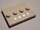 Part No: 88646pb004  Name: Tile, Modified 3 x 4 with 4 Studs in Center with 4 Silver Stars Pattern