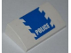 Part No: 88930pb006  Name: Slope, Curved 2 x 4 x 2/3 with Bottom Tubes with Blue and White Danger Stripes and White 'POLICE' on Blue Pattern (Sticker) - Set 3648