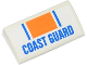 Part No: 88930pb029  Name: Slope, Curved 2 x 4 x 2/3 with Bottom Tubes with Orange Rectangle, Blue Lines and 'COAST GUARD' Pattern (Sticker) - Set 60012