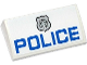 Part No: 88930pb041  Name: Slope, Curved 2 x 4 x 2/3 with Bottom Tubes with Silver Police Badge and 'POLICE' Pattern (Sticker)