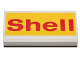 Part No: 88930pb055  Name: Slope, Curved 2 x 4 x 2/3 with Bottom Tubes with 'Shell' on Yellow Background Pattern (Sticker) - Set 40196