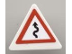 Part No: 892pb015  Name: Road Sign Clip-on 2 x 2 Triangle with Curved Road with Arrow Pattern (Sticker) - Set 8124