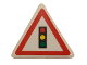 Part No: 892pb017  Name: Road Sign 2 x 2 Triangle with Clip with Traffic Light Pattern (Sticker) - Set 8401