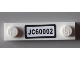 Part No: 92593pb010  Name: Plate, Modified 1 x 4 with 2 Studs with 'JC60002' License Plate Pattern (Sticker) - Set 60002
