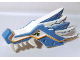 Part No: 93070pb01  Name: Dragon Head (Ninjago) Upper Jaw with Medium Blue Sections and Orange Stripes Pattern