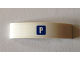 Part No: 93273pb088  Name: Slope, Curved 4 x 1 Double with White 'P' in Blue Square Pattern (Sticker) - Set 40170