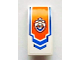 Part No: 93606pb011  Name: Slope, Curved 4 x 2 with Blue Arrow and Coast Guard Logo on Orange Background Pattern (Sticker) - Set 60011