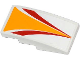 Part No: 93606pb012  Name: Slope, Curved 4 x 2 with Red and Bright Light Orange Stripes Pattern (Sticker) - Set 60019