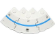Part No: 95188pb17  Name: Brick, Round Corner 6 x 6 with Slope 33 Edge, Facet Cutout with Blue Stripe, Black Lines, Vent and 8 Rivets Pattern (Sticker) - Set 70709