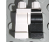 Part No: 970d06pb01  Name: Minifigure, Legs with Hips - 1 Black Left Leg, 1 White Right Leg, Black Bar Above Left Leg Pattern