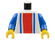 Part No: 973p01c01  Name: Torso Vertical Striped Red/Blue Pattern / Blue Arms / Yellow Hands