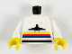 Part No: 973p16c01  Name: Torso Airplane Logo with Stripes Pattern / White Arms / Yellow Hands