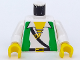 Part No: 973p3cc01  Name: Torso Pirate Green Vest, Open Shirt, and Black Crossbelt Pattern / White Arms / Yellow Hands