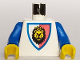 Part No: 973p4dc02  Name: Torso Castle Royal Knights Lion Head on Red/White Shield Pattern / Blue Arms / Yellow Hands
