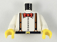 Part No: 973pa1c01  Name: Torso Adventurers Desert Suspenders and Red Bow Tie Pattern / White Arms / Yellow Hands