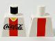 Part No: 973pb0005  Name: Torso Coca-Cola Logo with V-Neck Shirt and Red Stripe Pattern