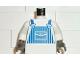 Part No: 973pb0009c01  Name: Torso Train Blue Striped Overalls Pattern / White Arms / Dark Gray Hands