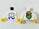 Part No: 973pb0025ac01  Name: Torso TV Globe Big Pattern - Lego Soccer Logo on Back / White Arms / Yellow Hands