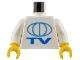 Part No: 973pb0025c01  Name: Torso TV Globe Big Pattern / White Arms / Yellow Hands