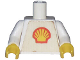 Part No: 973pb0036c01  Name: Torso Shell Logo Small Pattern (Trapezoid Sticker) / White Arms / Yellow Hands